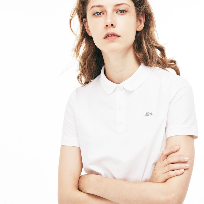 라코스테 Lacoste Womens Regular Fit Stretch Poplin Polo Shirt