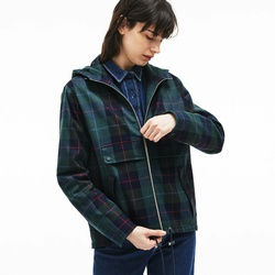 Lacoste Womens Tartan Check Print Cotton Canvas Zippered Pea Coat