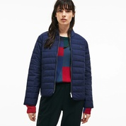 Lacoste Womens Zippered Quilted Soft Taffeta Jacket