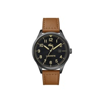 Lacoste Mens Continental Watch with Brown Leather with Black Details Strap