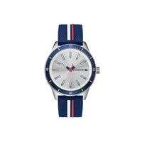 Lacoste Gents Key West Watch with Blue Silicone with White and Red Striping Print Strap