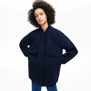 Lacoste Womens Quilted Lining Long Wool Crepe Bomber Jacket