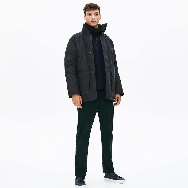 라코스테 Lacoste Mens Detachable Faux Fur Hood Long Quilted Parka