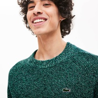 Lacoste Mens LIVE Ribbed Heathered Cotton Crewneck Sweater