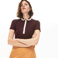 Lacoste Womens Contrast-Trim Stretch Cotton Polo