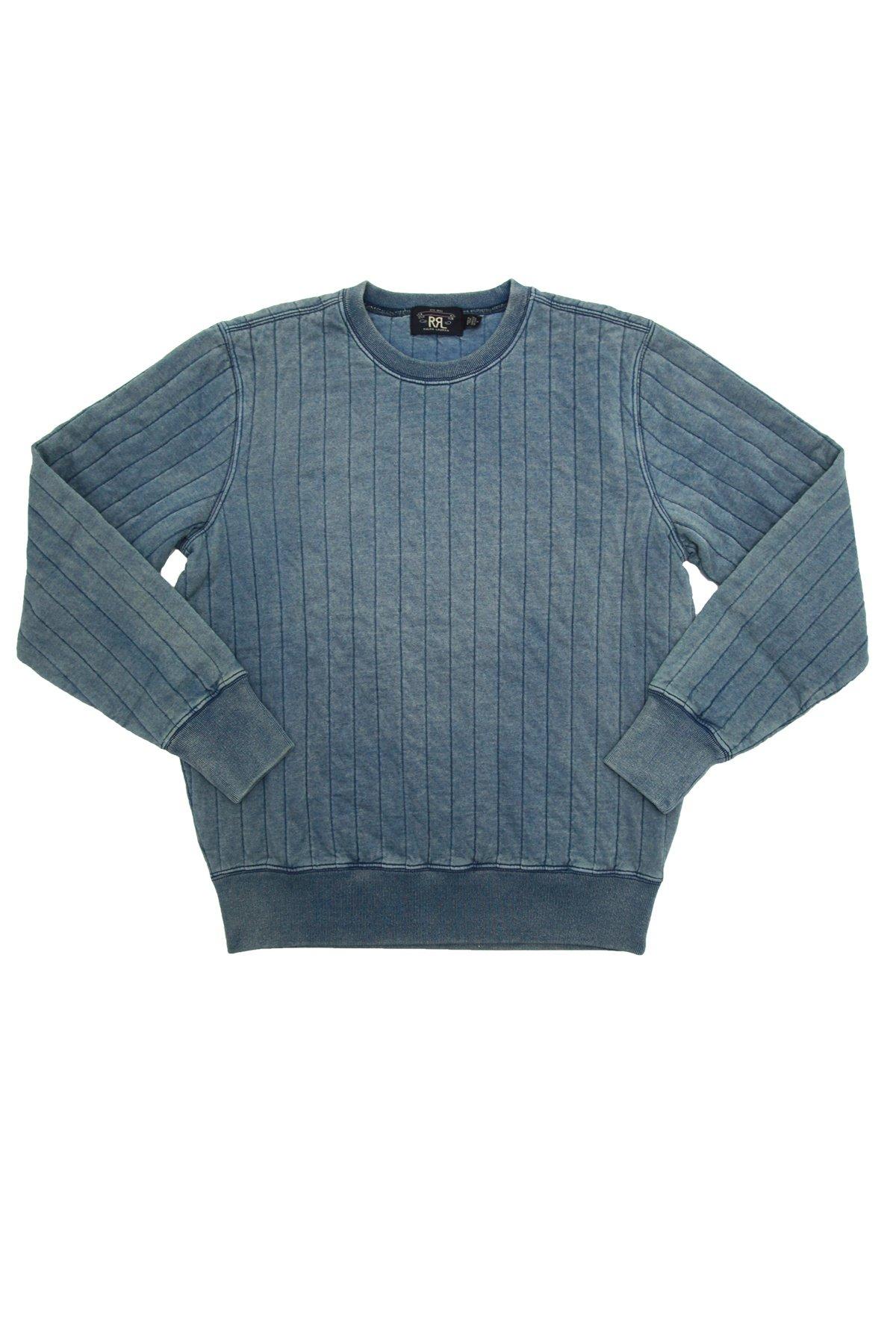RRL Quilted Crewneck - Washed Blue Indigo